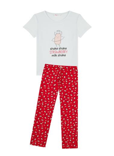 Penti Kadın Kırmızı Milkshake Ss Pijama Takım PN6K3MKN21IY Kırmızı